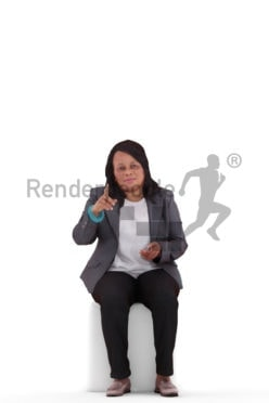 3d people business, black 3d woman sitting and pointing