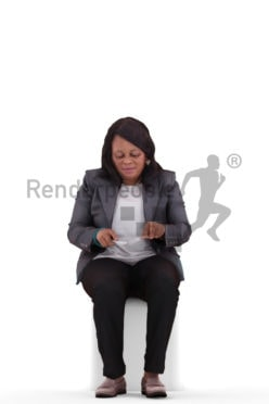 3d people business, black 3d woman sitting and eating