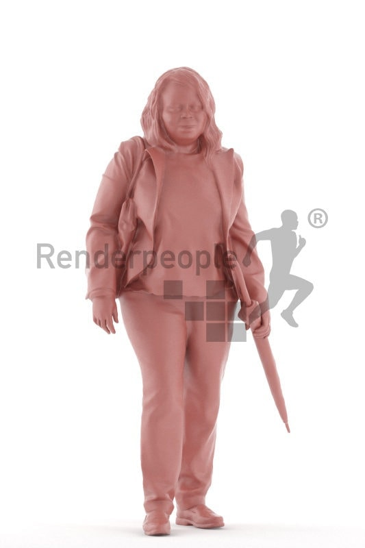 3d people business, black 3d woman standing and holding an umbrella