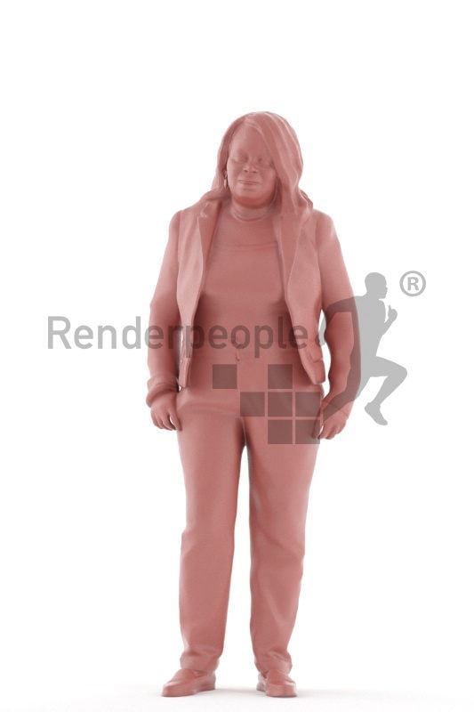 3d people business, black 3d woman standing