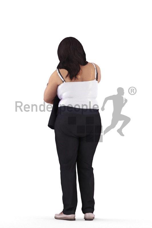 Photorealistic 3D People model by Renderpeople – black woman looking for a blazer