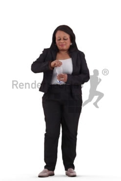 3d people business, black 3d woman standing and holding water bottle