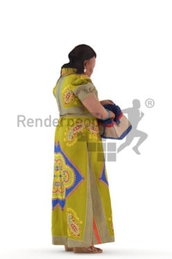 3d people event, black 3d woman standing and searching bag
