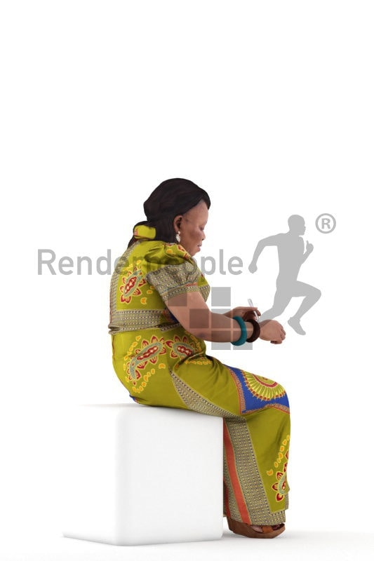3d people event, black 3d woman sitting and eating