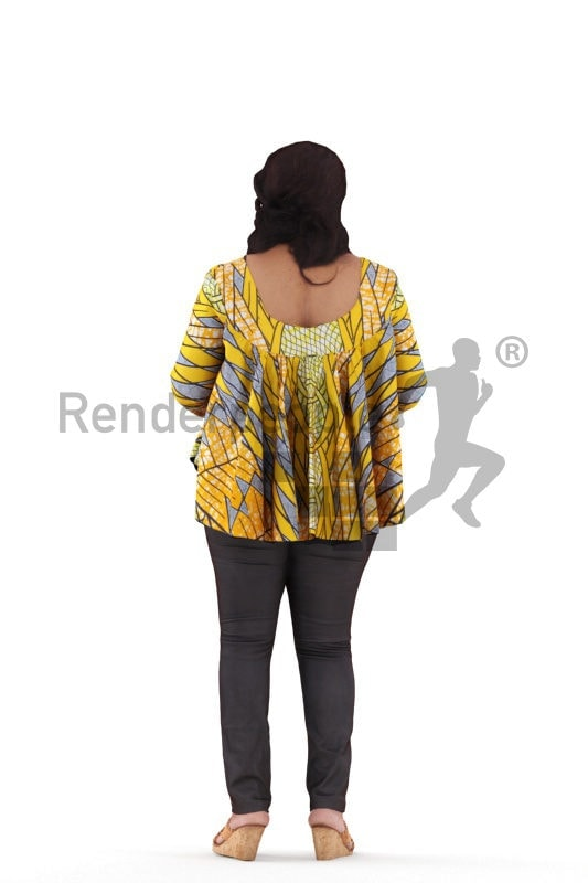 3d people event, black 3d woman standing and holding smartphone