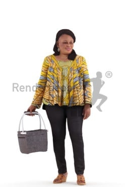 3d people casual, black 3d woman standing and shopping