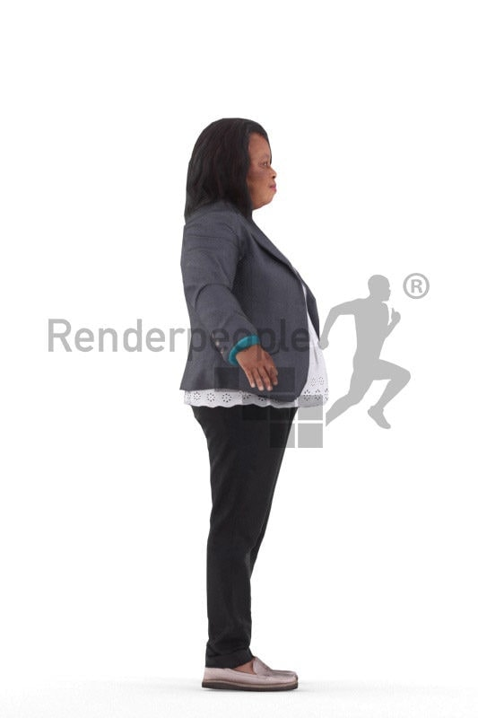 Rigged 3D People model for Maya and 3ds Max – black woman in business clothing