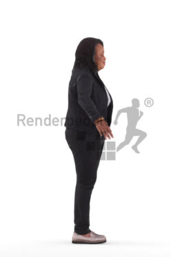 Rigged 3D People model for Maya and Cinema 4D – black woman, business clothing
