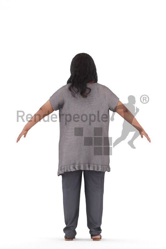 Rigged 3D People model for Maya and Cinema 4D, black woman casual