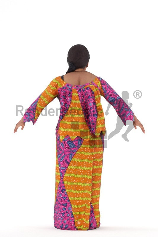 Rigged 3D People model for Maya and Cinema 4D, black woman with traditional costume