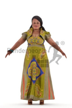 Rigged 3D People model for Maya and 3ds Max – black woman in traditional event look