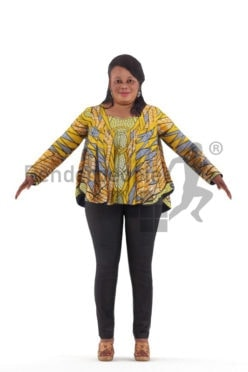 Rigged and retopologized 3D People model – african woman with traditional piece
