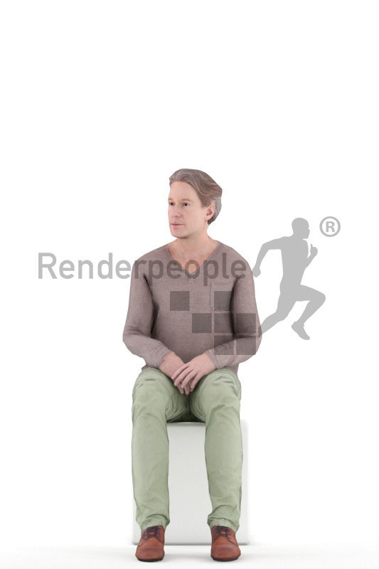 Animated 3D People model for visualization – middleager european man in smart casual clothes, sitting