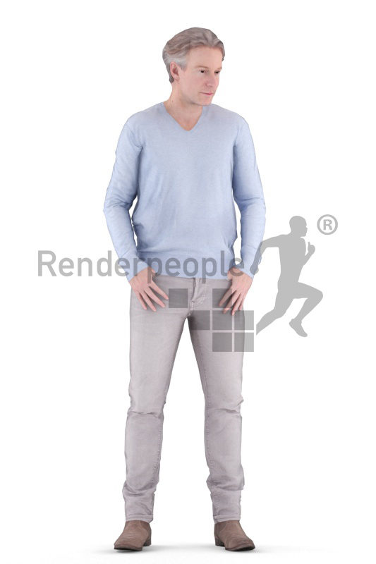 Animated 3D People model for visualization – middleaged european, standing in casual clothes