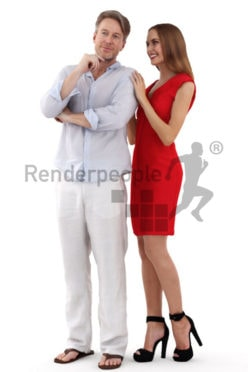 3d people business, white 3d couple standing