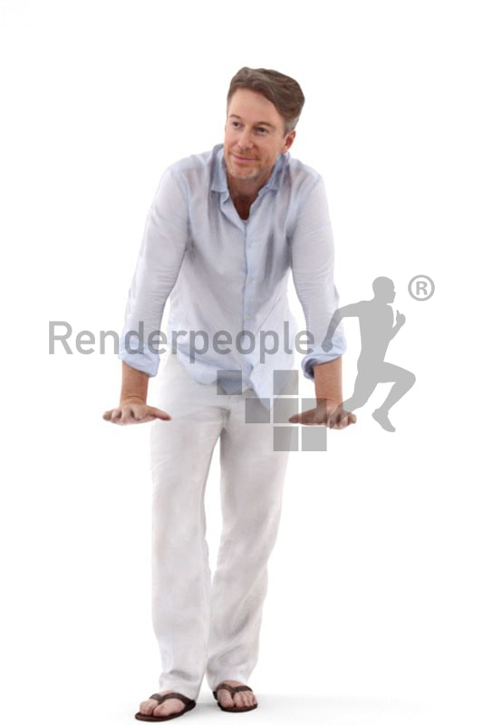 3d people casual, white 3d man leaning on rail