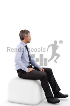 3d people business, white 3d man wearing a suit and sitting