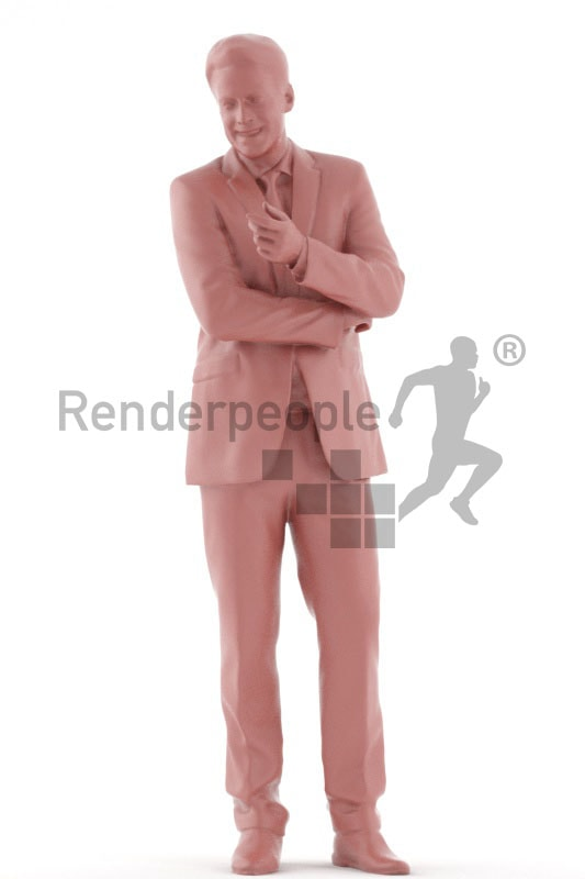 3d people business, white 3d men talking and smiling