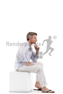 3d people casual, white 3d man sitting and thinking
