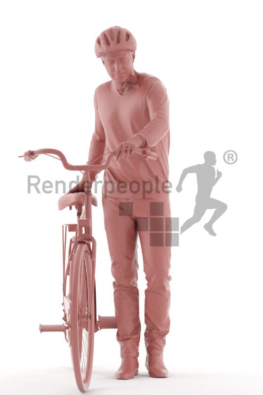 Posed 3D People model for visualization – elderly white man with a bike, wearing a helmet
