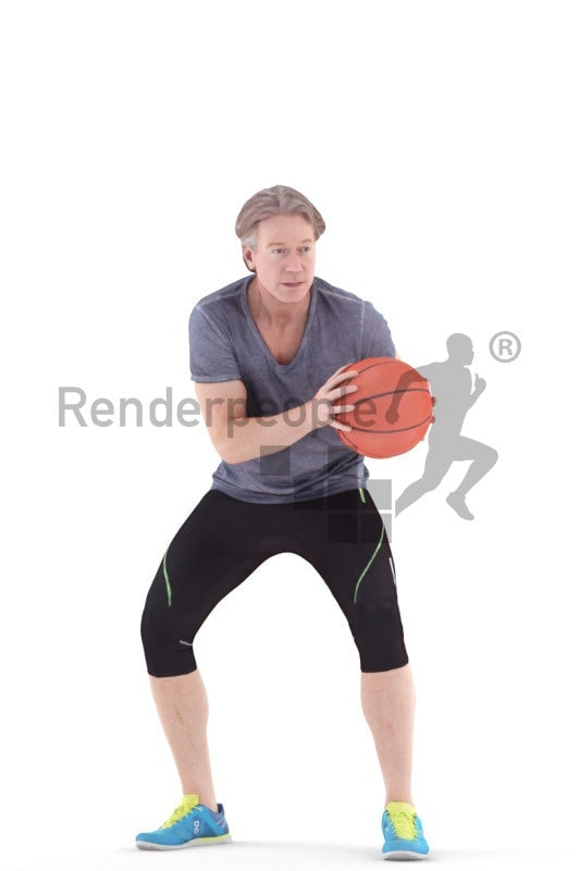 3d people sports, white 3d man playing basketball.