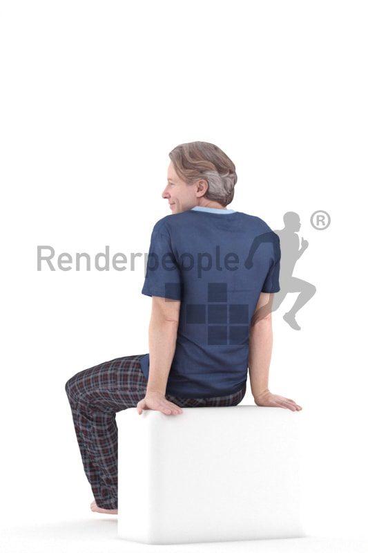 3d people sleepwear, white 3d man sitting