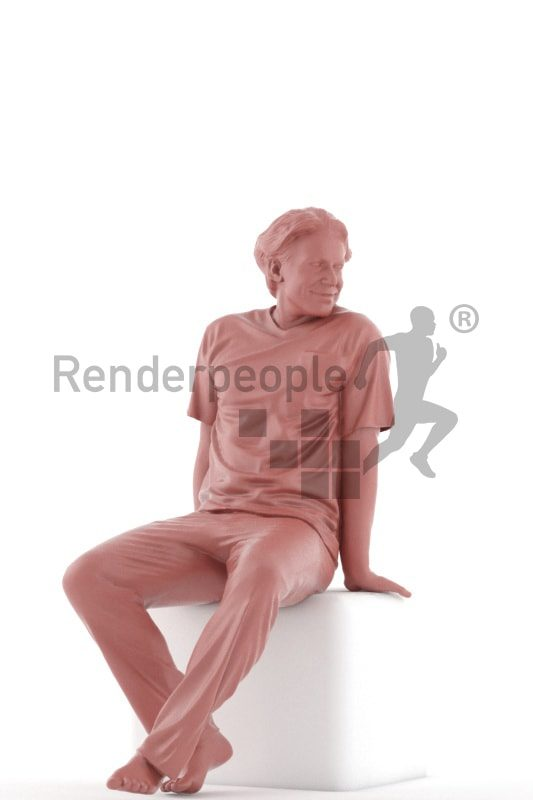 3d people sleepwear, white 3d man sitting