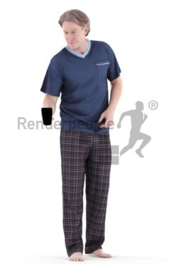 3d people sleepwear, white 3d man standing and holding coffee cup