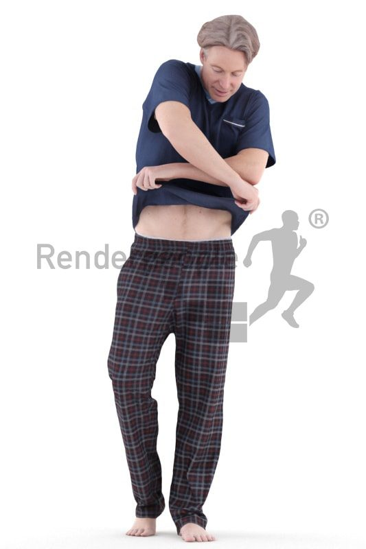 3d people sleepwear, white 3d man standing and changing clothes