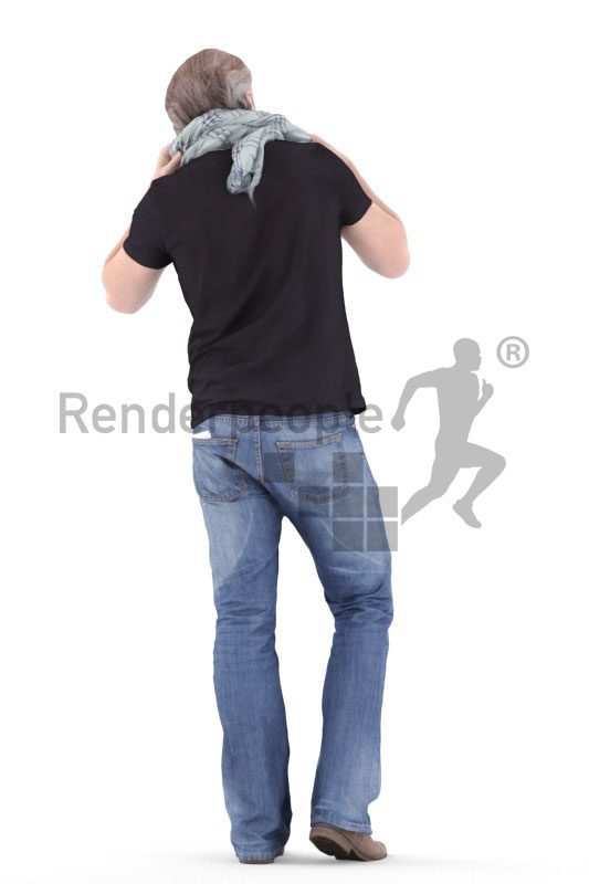 3d people casual, white 3d man standing and wearing scarf