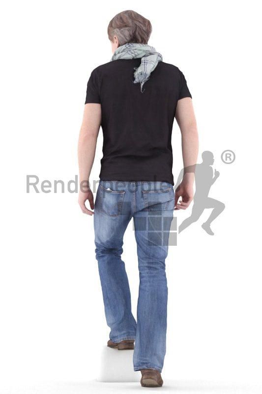 3d people casual, white 3d man walking upstairs