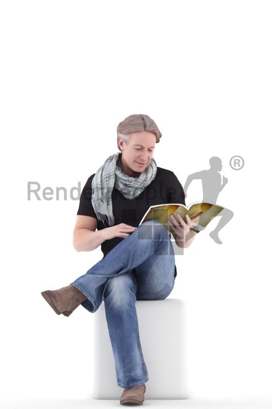 3d people casual, white 3d man sitting and reading
