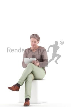 3d people sports, white 3d man sitting and browsing the web.