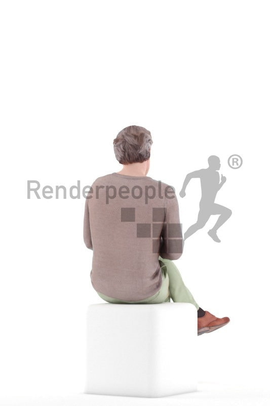 3d people casual, white 3d man sitting and browsing the web.