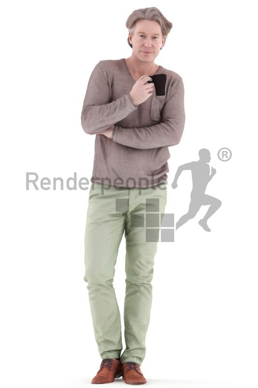 3d people casual, white 3d man standing and drinking coffee
