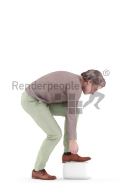 3d people casual, white 3d man standing tieing shoes