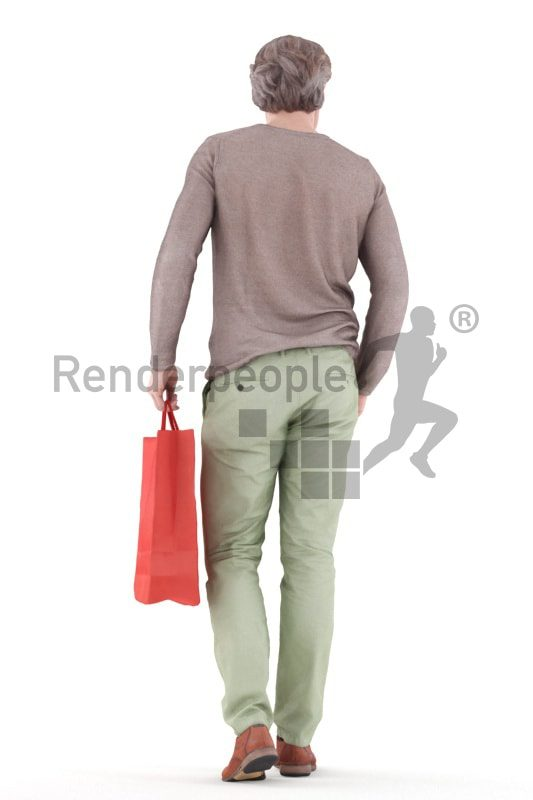 3d people casual, white 3d man walking and holding shopping bag