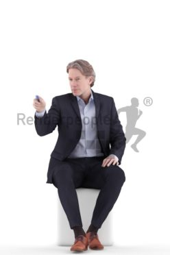 3d people business, white 3d man sitting and pointing