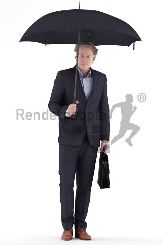 3d people business, white 3d man standing and holding an umbrella