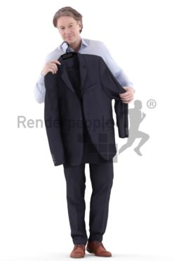 3d people business, white 3d man standing shopping clothes