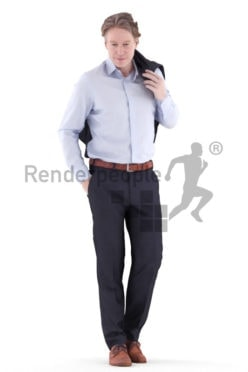 3d people sleepwear, white 3d man standing and wearing scarf