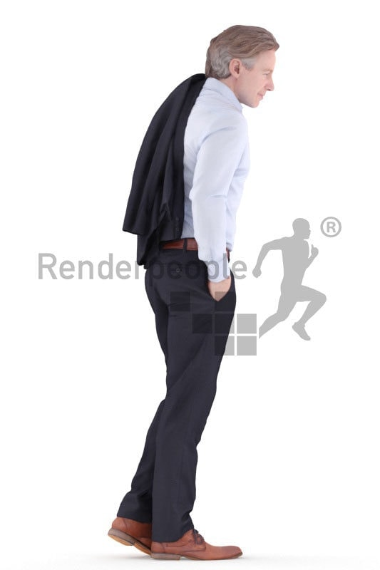 3d people business, white 3d man standing and holding jacket