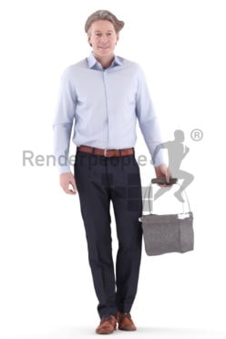 3d people business, white 3d man walking and shopping
