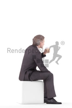 3d people business, white 3d man sitting and drinking