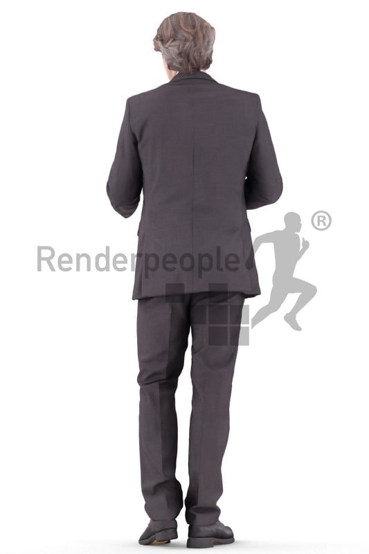 3d people business, white 3d man standing and discussing