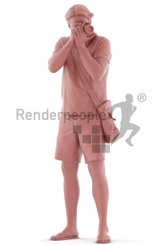 3d people casual, white 3d man standing and taking photos