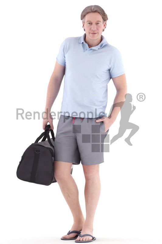 3d people casual, white 3d man walking and carrying a sports bag