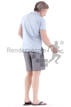 3d people casual, white 3d man standing and grilling