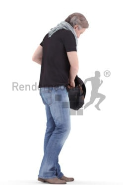 3d people casual, white 3d man standing and looking into bag
