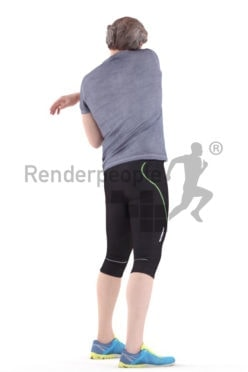 3d people sports, white 3d man standing and stretching